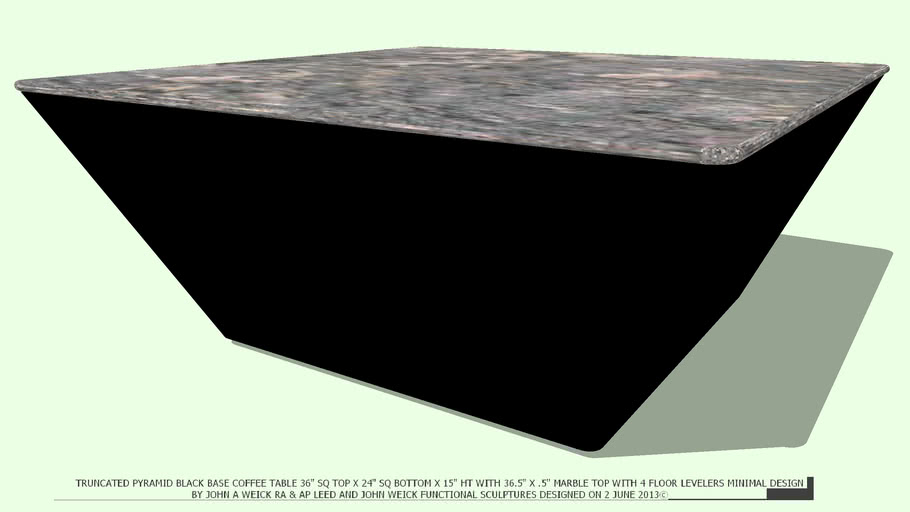 TABLE COFFEE 36.5 SQ X 15.5 HT BLACK BASE MARBLE TOP BY JOHN A WEICK RA