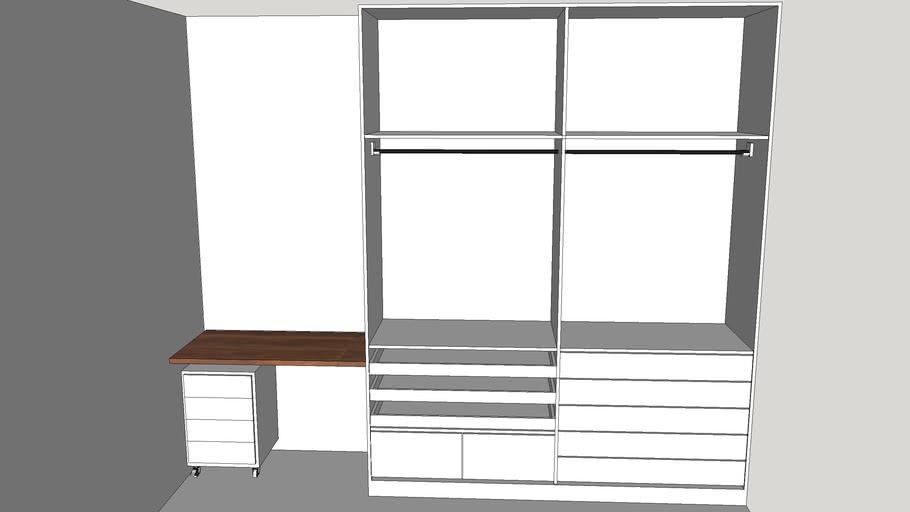 guarda roupa 2 parte com bancada e escrivaninha
