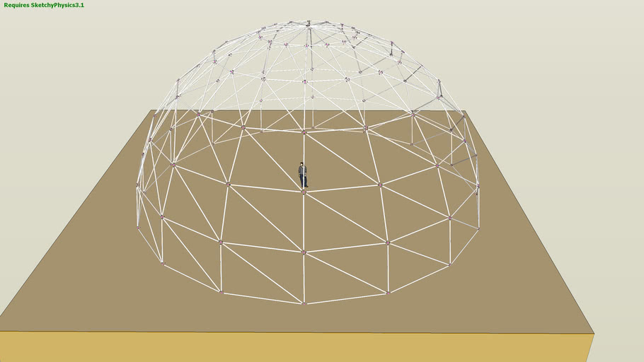 geodesic dome ready to test in sketchyphysics