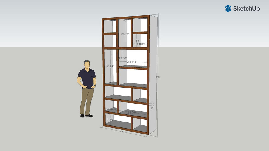 Great Room Bookcase with dimensions