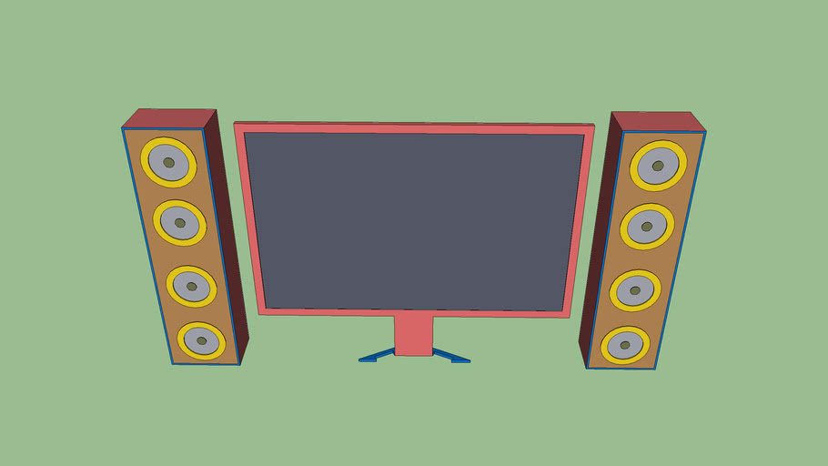 funky flat screen tv with speakers