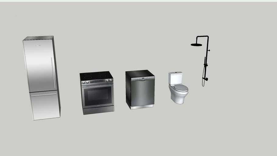 Counter-depth fridge /Bosch dishwasher/Stove/Shower head/Toto Toilet
