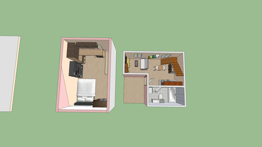 300 Sq Ft Studio Tiny Apartment Loft With Kitchen And Bathroom 3d Warehouse