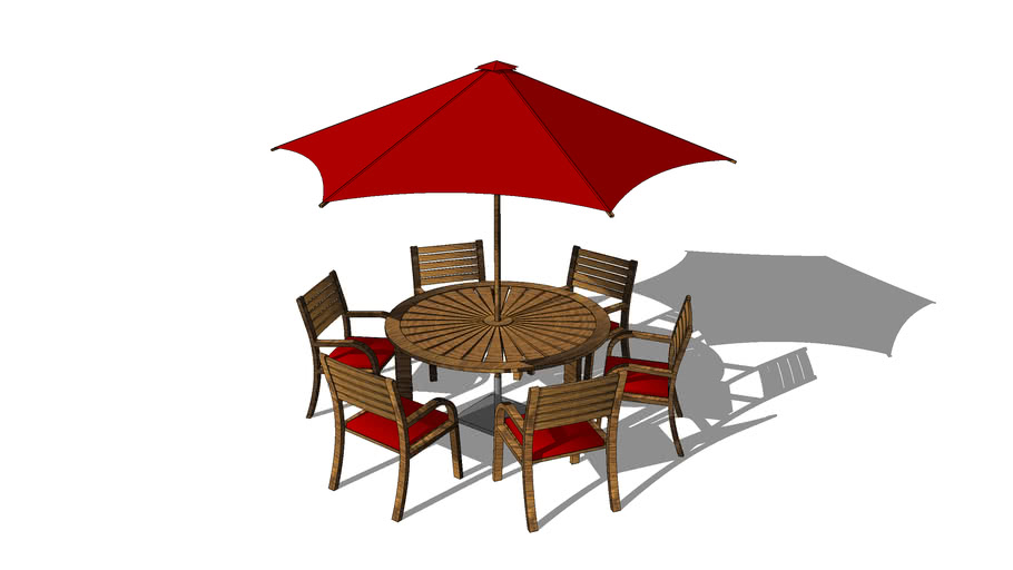 Garden Table And Chairs With Parasol 3d Warehouse