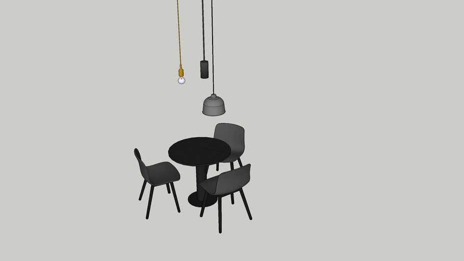 Ronde tafel Ø800 3 HAY stoelen hanglampen kleine vergader set