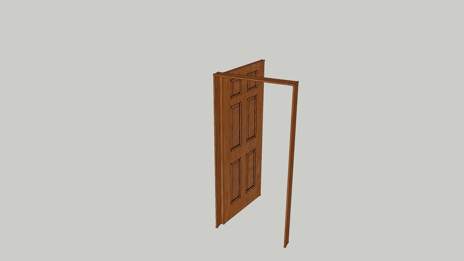 Interior Door, 6 Panel, Open