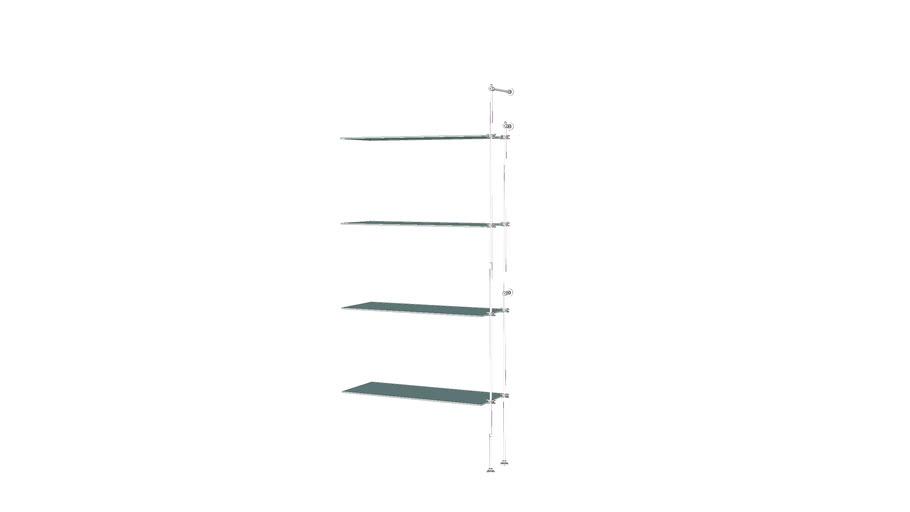 Tube Outrigger - 4 Glass Shelves - Add-on Unit