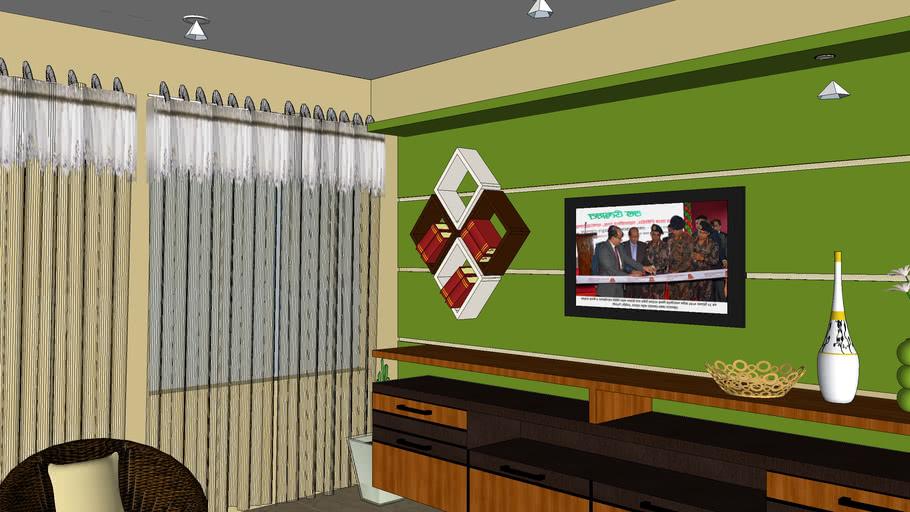 Drawing Room Interior with V-ray Material by Al Amin Munnaa