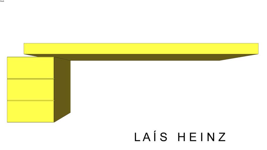Escrivaninha suspensa amarela