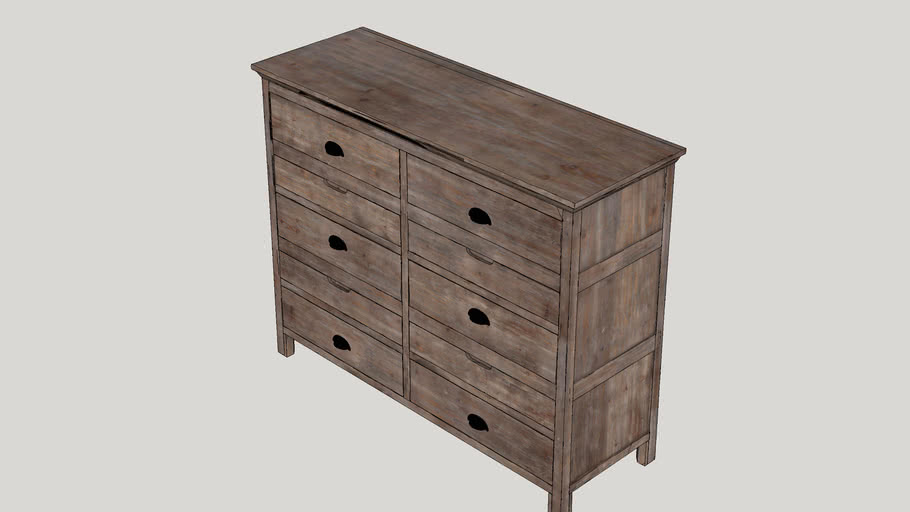 Lata Rustic Wood 6 Drawer Chest