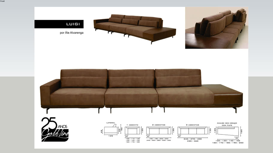 Sofá Luigi 02 Assentos + Chaise