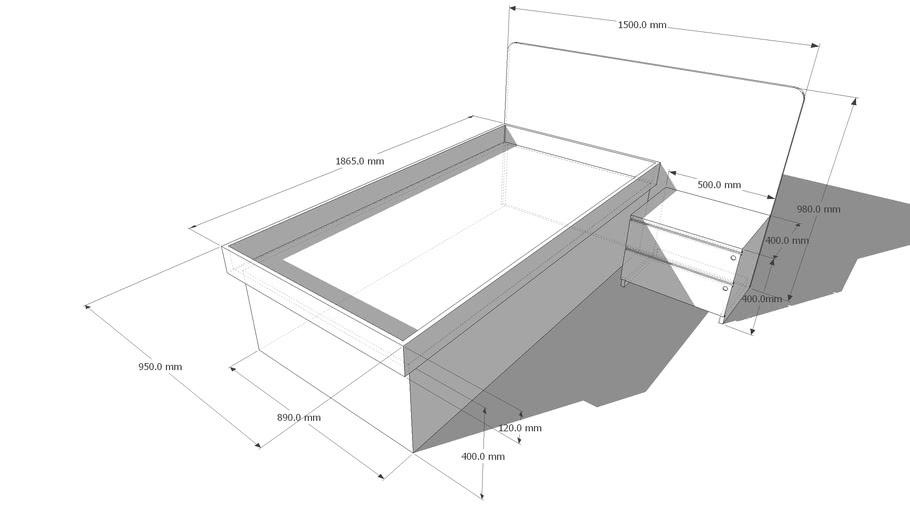 Bed with side cabinet
