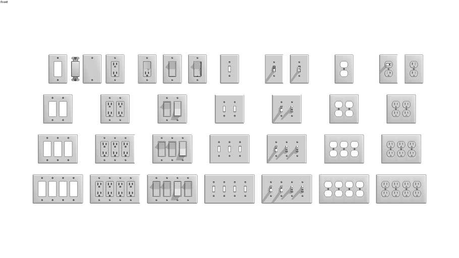 Leviton Medium Decora + Standard US 1-2-3-4 Gang Plates + Devices