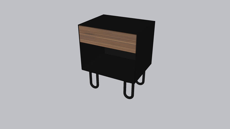 Neat_Bedside table_Onyx Black - Walnut