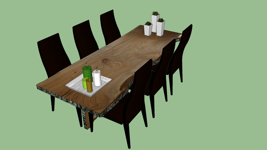 Big tree trunk dining table