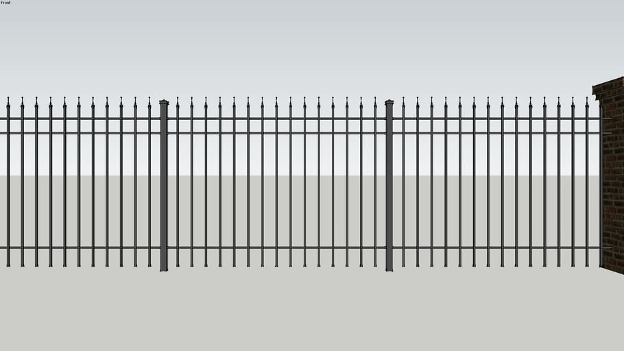 Iron Fence w Brick Columns
