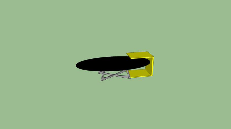 mesa oval com mesa lateral amarela