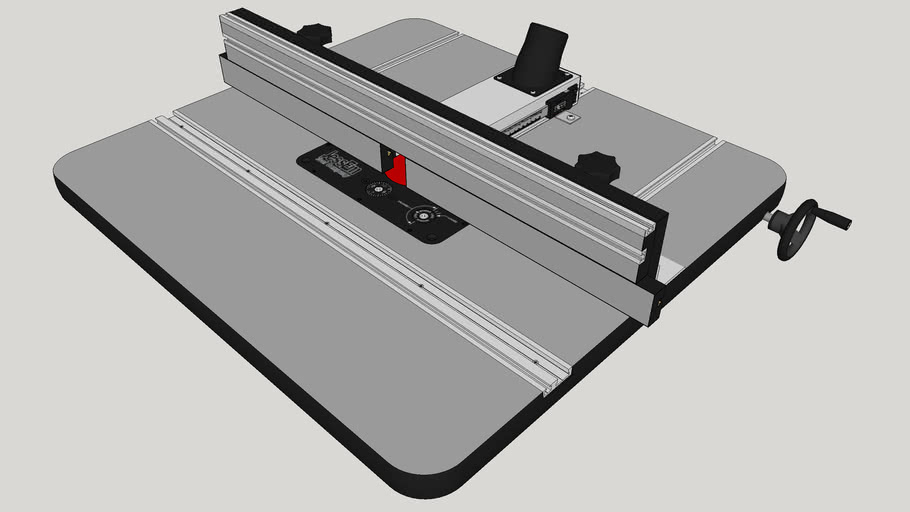 Router Table with Rack and Pinion Linear Motion DRO Fence