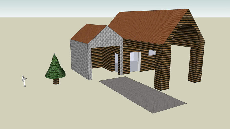 Classic log house with garage
