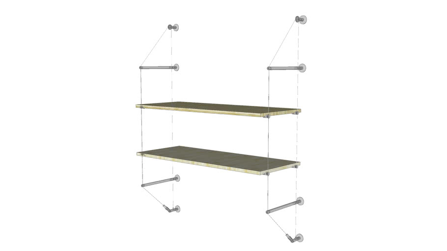 Cable Wall Unit - 2 Wood Shelves - Base