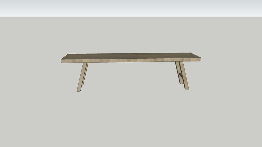 Lage , lange salontafel hout 160x40 / low, long coffeetable wood