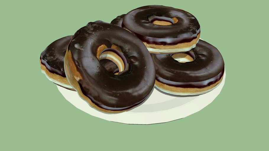 Chocolate Glazed Doughnuts on a Plate