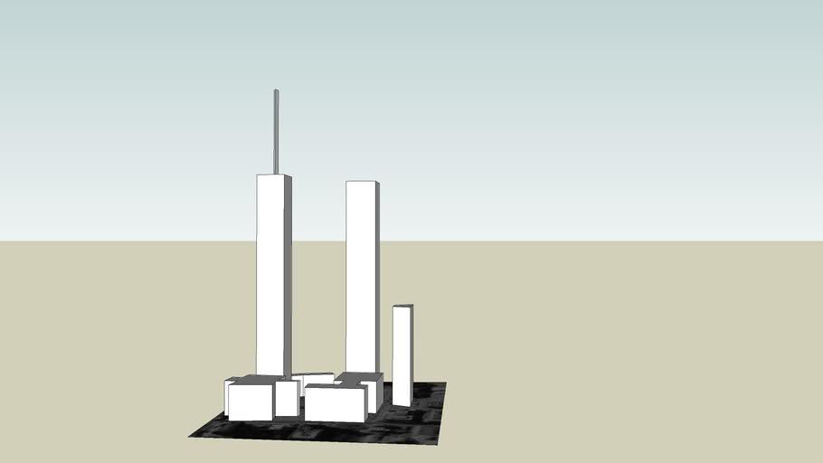 World Trade Center (centre) Manhatten Island (uncoloured version)