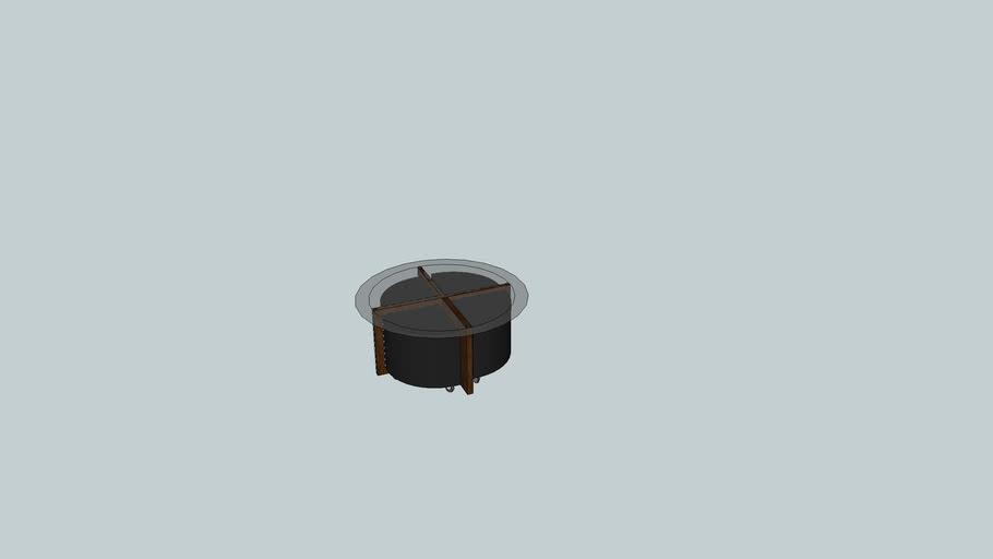 Mesa de apoio redonda com pufes