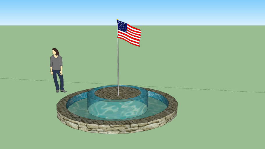 Fountain with Flag