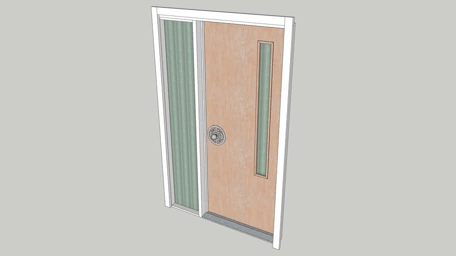 DOOR - FLUSH BIRCH 2-8 w 1 ft 2 REEDED SIDELITE and 4 in SLIT LITE, MID CENTURY