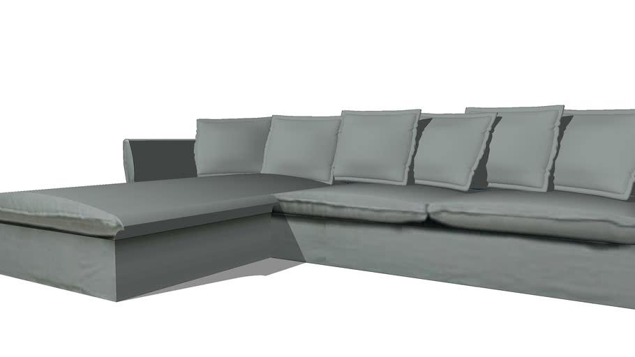 BARCELONE Canapé d'angle gauche 7 places en lin lavé gris clair REF 166681 PRIX 1490.00€