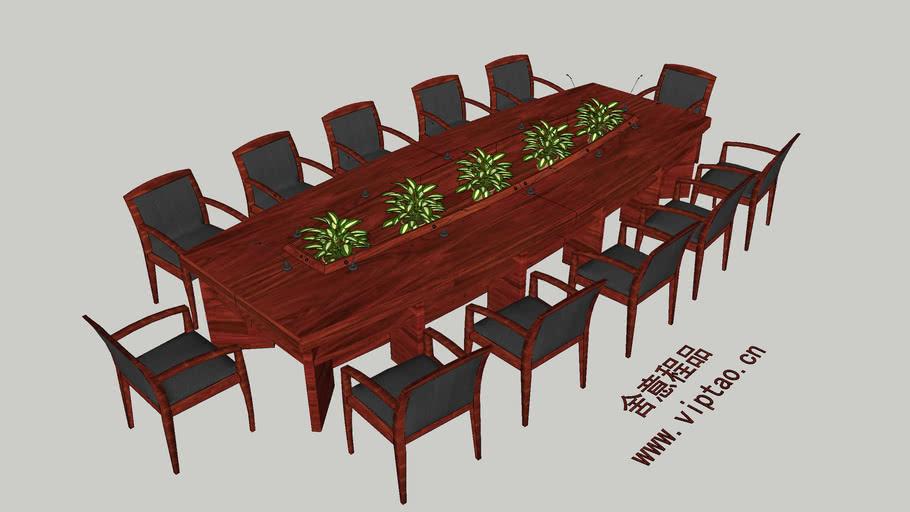 Conference table 12座会议台 会议桌 实木会议台 经典会议台 会议室