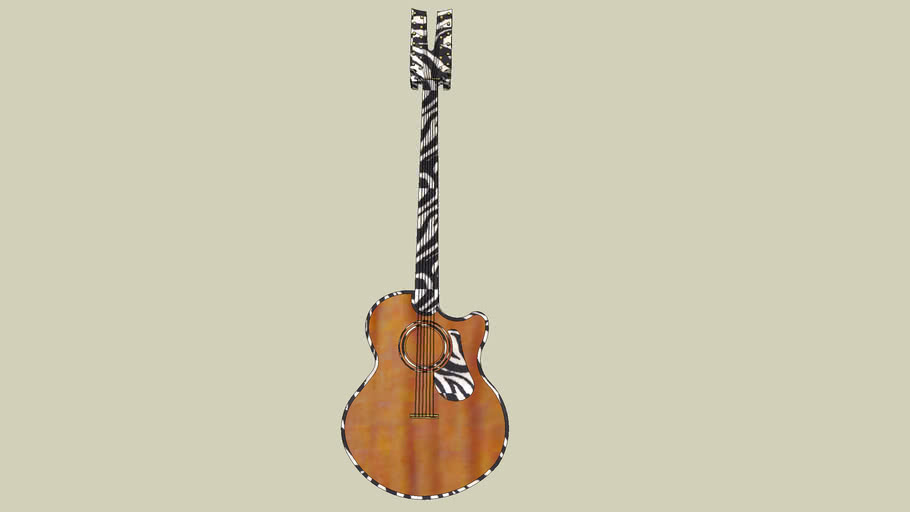 Zebra 12-string acoustic fretless guitar