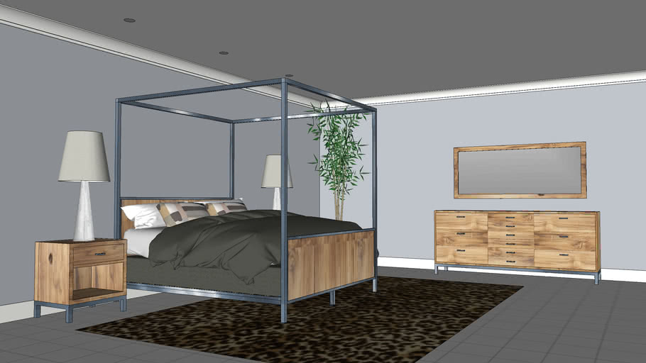Bedroom Furniture Steel And Wood 3d, Wood And Steel Bedroom Furniture