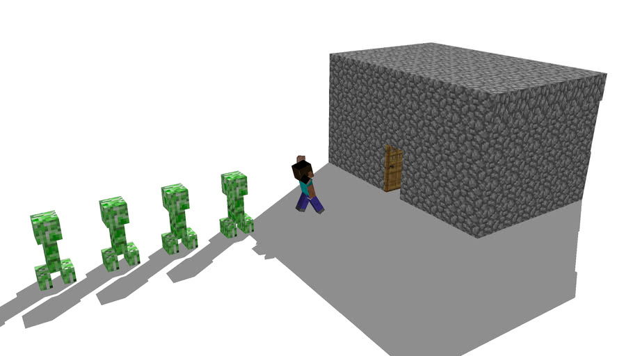 Steve Running From Creepers To His House For Safety