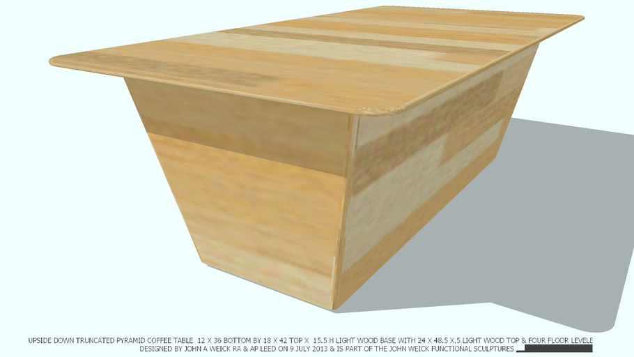 COFFEE TABLE LT WD TRUNCATED LT WD 2X4 TOP DESIGNED BY JOHN A WEICK RA