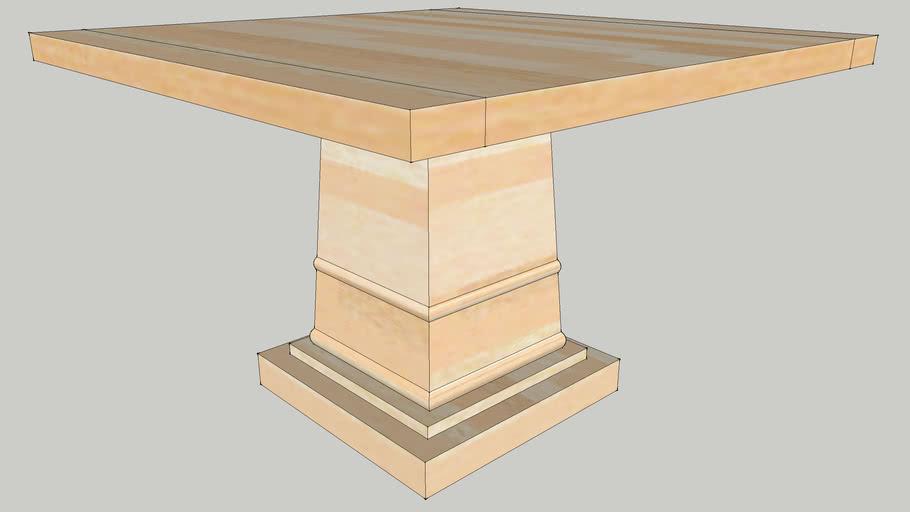 CI - Sara Square Dining table - no leaves - Stonewashed Acacia