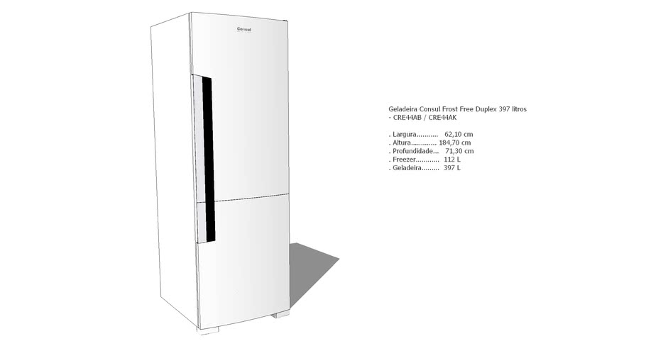 Geladeira Consul Frost Free Duplex 397 litros  - CRE44AB / CRE44AK