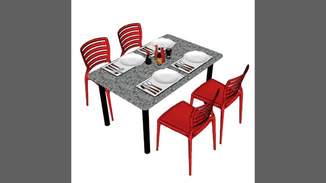 Mesa com cadeiras para refeitório