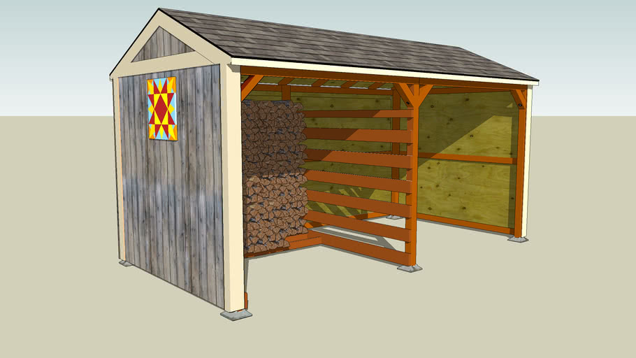 Wood Shed with Firewood and Barn Quilt