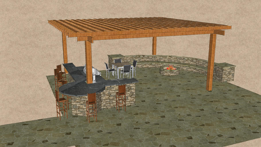 Grill Island with Pergola and Seatwall