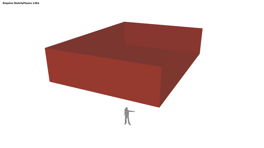 SketchyPhysics - Unfortunate little 3D man crashed by a giant red box.
