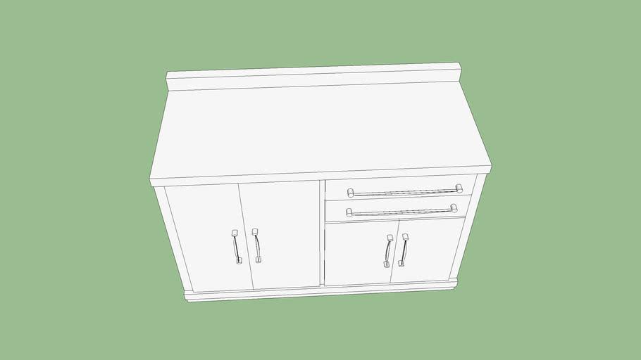 Gabinete com tampo 4 portas 2 gavetas