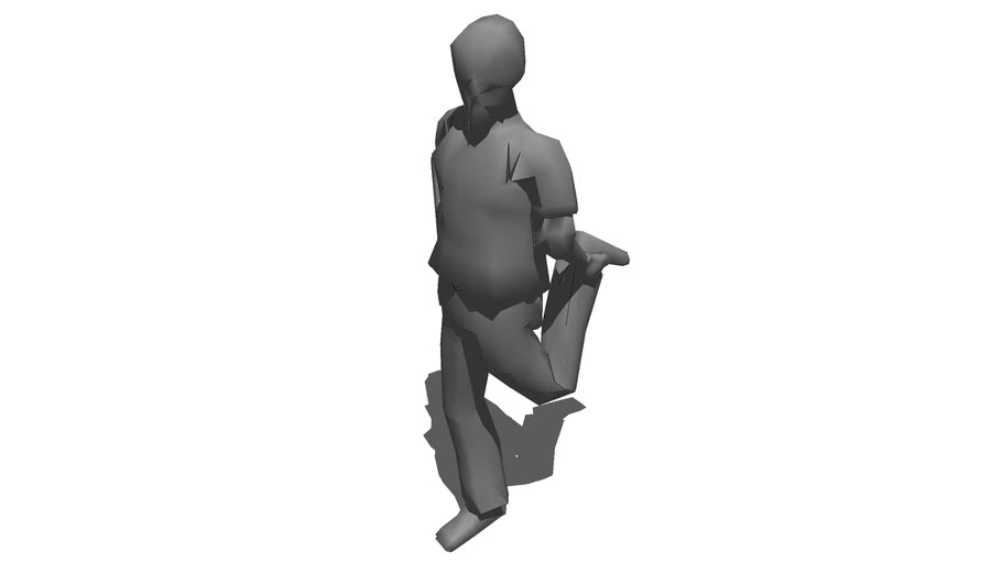 3D Man Balancing on 1 Foot