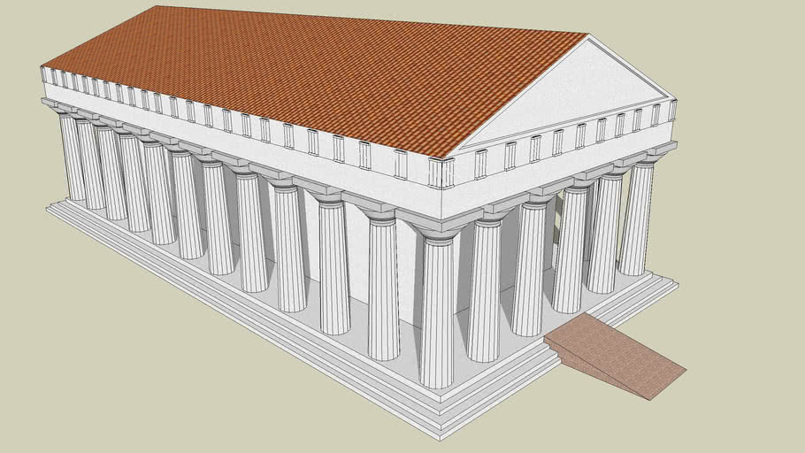 Greek Temple with Fluted Columns