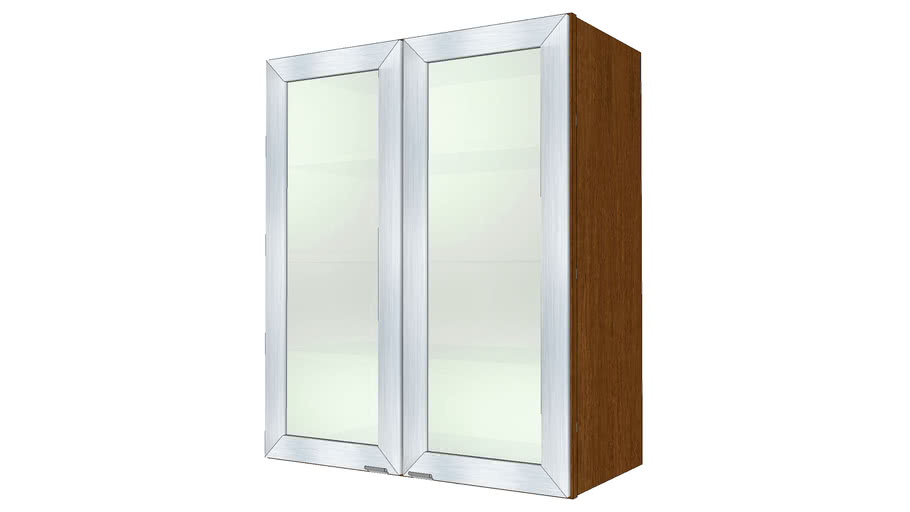 Vetro Brushed Aluminum with Satina Glass Maple Cognac Medium by KraftMaid® Cabinetry
