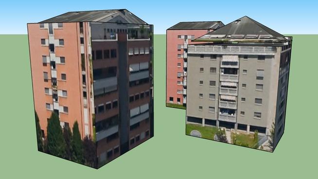 3 Wohngebäude in Mailand, Italien