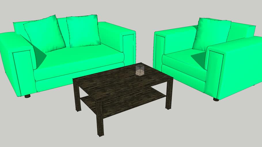 Green Yogurt 4 u sofa chair and table