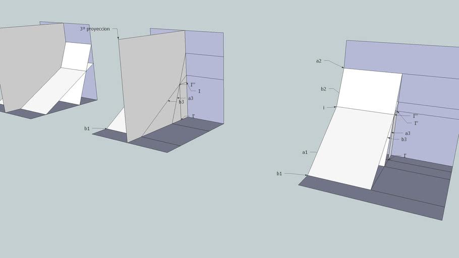 Sistema diedrico: Interseccion de dos planos, usando tercera proyeccion.