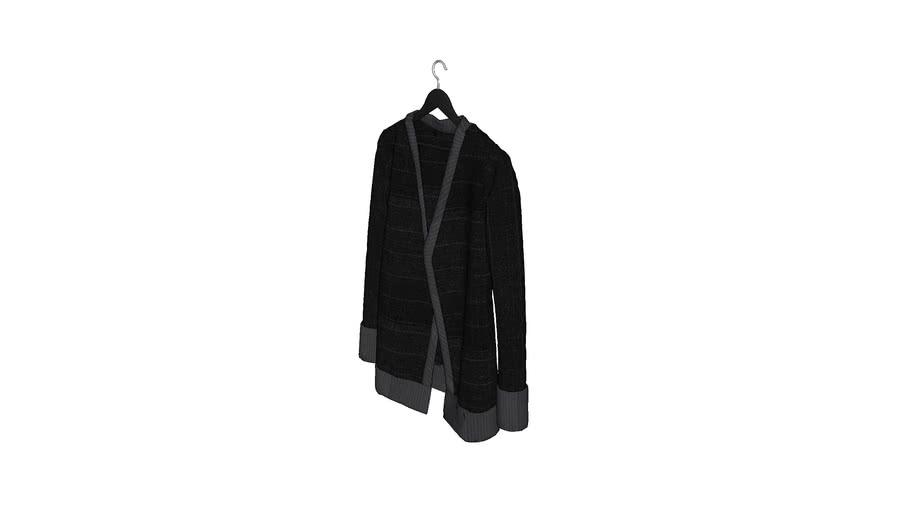 Ubranie - wiszące -szlafrok - krotki - czarno szary